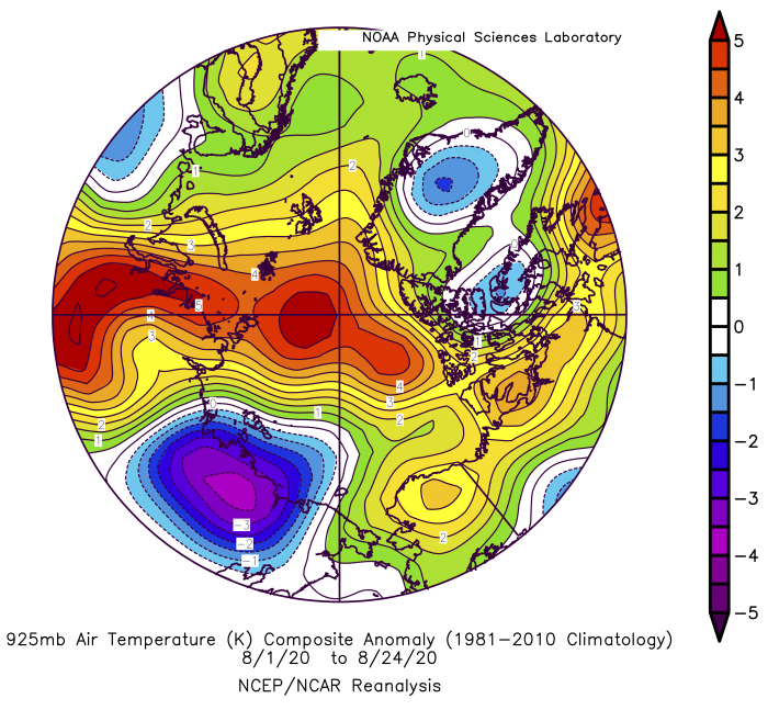 Figure 11. Departure from average air temperature in the Arctic at the 925 hPa level, in degrees Celsius, from 1–24 August 2020. Yellows and reds indicate higher-than-average temperatures; blues and purples indicate lower-than-average temperatures. Figure courtesy of NOAA Earth System Research Laboratories: Physical Sciences Laboratory.