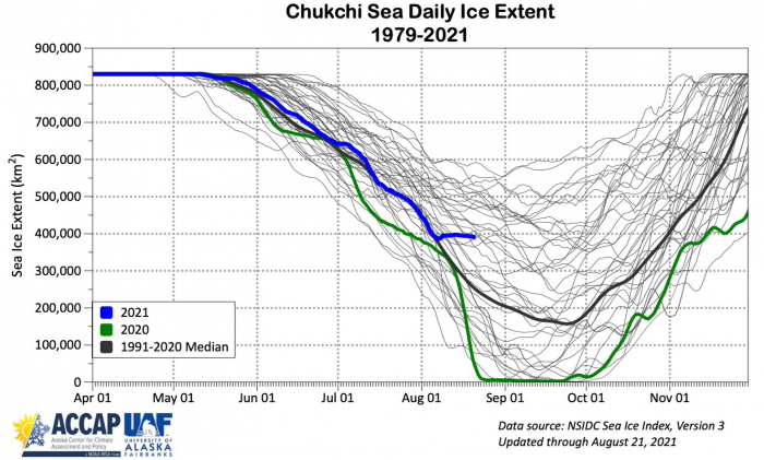 Figure 16b. Annual cycle of sea-ice extent in Chukchi Sea for 1979–2019 (grey), 2021 (blue), 2020 (red), 2019 (purple dots) and, 1981–2010 median (black). Courtesy of Rick Thoman.