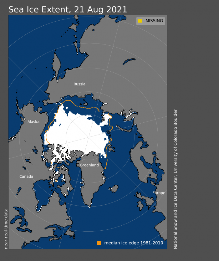 Figure 5. Arctic sea-ice extent and concentration for 21 August 2021, along with the median ice edge for 1981 to 2010. Figure courtesy of the National Snow and Ice Data Center.
