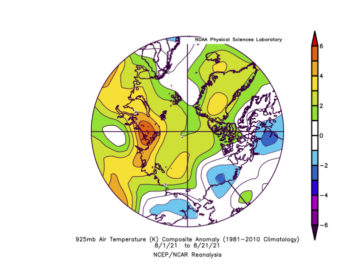 Figure 6. Departure from average air temperature in the Arctic at the 925 hPa level, in degrees Celsius, from 1–21 August 2021. Yellows and reds indicate higher-than-average temperatures; blues and purples indicate lower-than-average temperatures. Figure courtesy of NOAA Earth System Research Laboratories: Physical Sciences Laboratory.