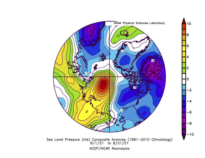 Figure 7. Average sea-level pressure in the Arctic in millibars (hPa) from 1–21 August 2021. Yellows and reds indicate higher air pressure than average; blues and purples indicate lower pressure than average. Figure courtesy of NOAA Earth System Research Laboratories: Physical Sciences Laboratory.