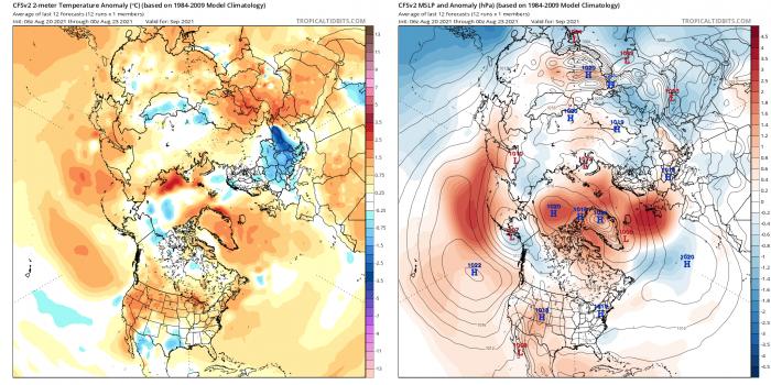 Figura 8. Le previsioni di settembre 2021 indicano la temperatura dell'aria di due metri (a sinistra) e la pressione al livello del mare (a destra) dal modello CFSv2 del NOAA.  Le tonalità rosso/arancione indicano temperature superiori alla media e le tonalità blu rappresentano temperature inferiori alla media.  Le linee di contorno nere mostrano le pressioni effettive;  l'ombreggiatura rossa e blu indica rispettivamente pressioni superiori e inferiori alla norma.  Trame per gentile concessione di Tropical Tidbits.