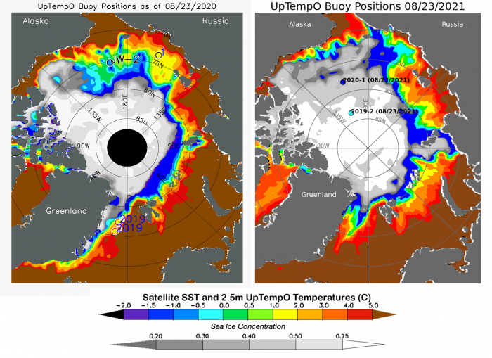 Figure 9. Sea-ice concentration (gray scale) and sea surface temperature (SST; color scale), for (left panel) 23 August 2020 and (right panel) 23 August 2021. Figures taken from the UpTempO buoy website.