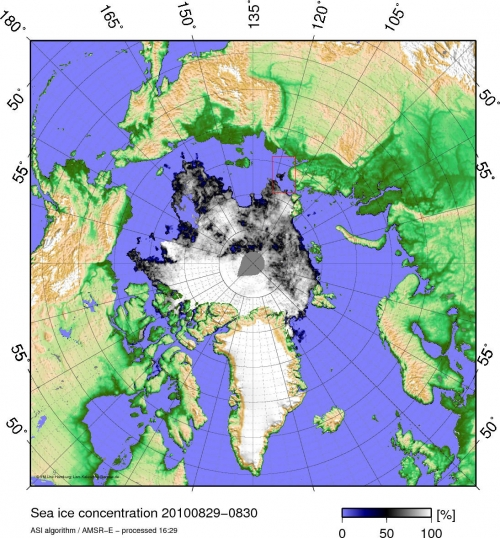 AMSR-E sea ice concentration on 30 August.