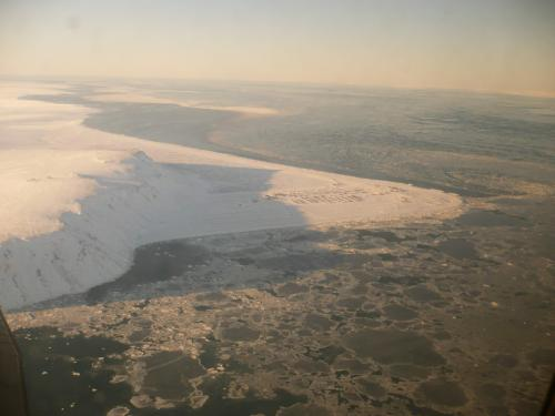 10 March 2011 aerial photo of sea ice near Gambell