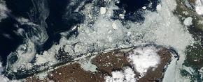 5 June 2011 Satellite image of drifting ice off Shishmaref