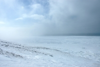 15 April 2012 - View of broad expanse of shorefast ice at Wales.
