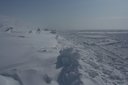 View of shorefast ice edge at Wales