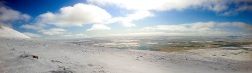 4 May 2014 - Panoramic view of near-shore pack ice drifting north with the current. View is from SSE to W.