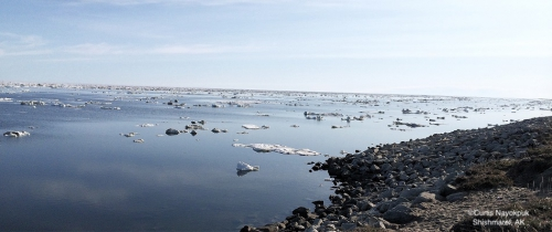 Nearshore ice conditions in Shishmaref looking northeast.