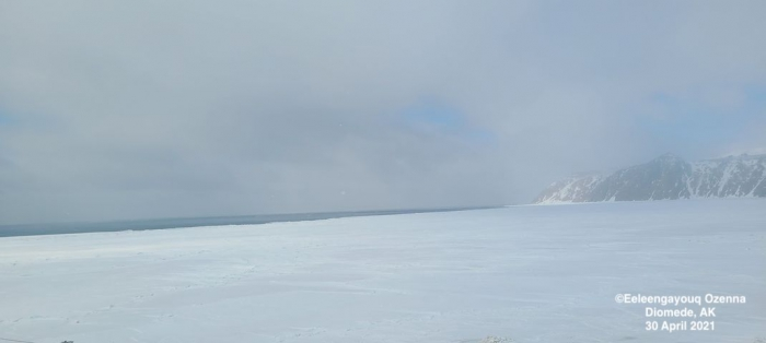 Sea ice and weather coniditions at Diomede - view 1.