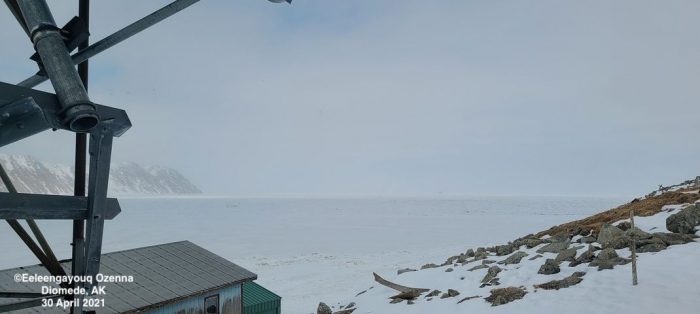 Sea ice and weather coniditions at Diomede - view 2.
