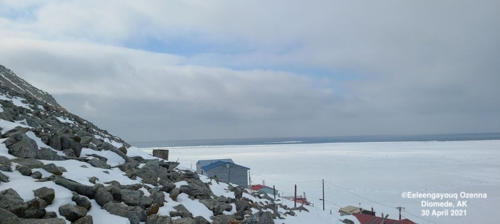 Sea ice and weather coniditions at Diomede - view 3.