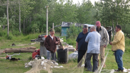 Emmonak residents at summer fish camp.