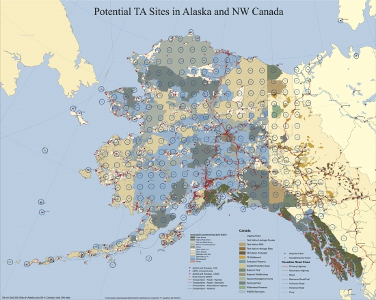 Map of planned Transportable Array deployment in Alaska.