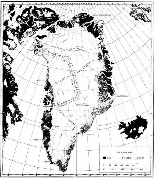 Map of Benson traverses of Greenland ice sheet 1952-56