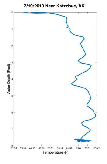 "Figure 3. Observation by Bobby Schaeffer on 19 July 2019, and ocean measurement by Vincent Schaeffer on 17 July 2019, near Kotzebue, Alaska: ""Since we had a hot June and parts of July, the waters warmed up not only up the rivers, but in Kotzebue Sound as well. The waters got too warm  in the ocean, so the crab slit to deeper colder waters in mid-July. This was a first. The CTD measured 64 F with very little salinity. Crazy!"" Figure courtesy of AAOKH."