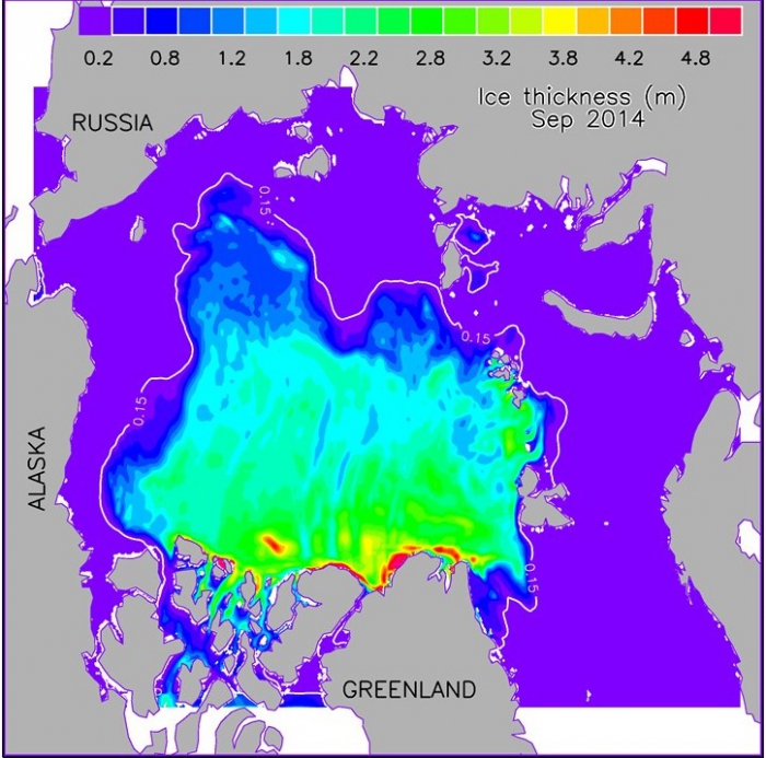Figure 2. HIOMAS (High-resolution Ice-Ocean Modeling and Assimilation System) simulated September 2014 mean sea ice thickness (m). The white line represents satellite observed ice edge. Figure courtesy of Jinlun Zhang.