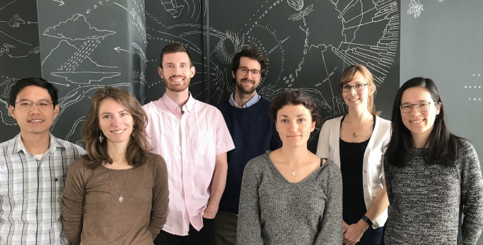 The first cohort of Data Science Fellows at NCEAS. Left to Right: Steven Chong, Stephanie Freund, Dominic Mullen, Mitchell Maier, Rachel Carlson, Emily O'Dean, Irene Steves. Photo courtesy of Kathryn Meyer.