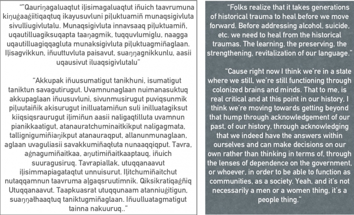 Excerpts from interviews from the Leadership and Strength project in Iñupiaq and English. Image courtesy of Laura Zanotti and Courtney Carothers.