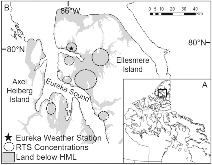 Figure 2. (A) Map of northern Canada with reference box showing the study area. (B) Study area showing the Eureka Weather Station and Eureka Sound Lowlands on Ellesmere and Axel Heiberg Islands, Nunavut. Land below Holocene Marine Limit (HML), shown in gray, is composed of fine grain marine sediments with ground-ice in the upper 20—30 meters. Areas high in retrogressive thaw slump (RTS) occurrence observed during flight surveys shown in dashed circles. Image courtesy of Melissa Ward Jones.