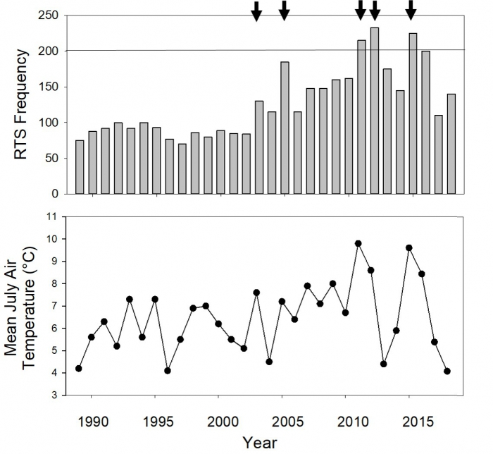 Figure 4. Top graph shows survey counts of active retrogressive thaw slumps during aerial surveys. Arrows point to large increases in slump numbers occurring in 2003, 2005, 2011, 2012 and 2015. Bottom graph shows mean July air temperature (°C). Figure courtesy of Melissa Ward Jones.
