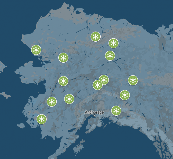 Figure 2. Locations of long-term community-based monitoring teams in Alaska that participate in the Fresh Eyes on Ice project. Figure courtesy of Fresh Eyes on Ice.