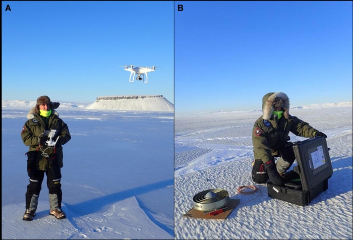Figure 3. Midshipman Colton Byers tests the DJI Phantom 4 quadcopter in Arctic conditions and lays out ground control points for drone aerial surveys. Picture taken by Dr. Joseph Smith.
