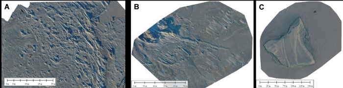 Figure 4. Orthomosaics created from images collected by the DJI Phantom 4 quadcopter with a 4K UHD video camera from aerial surveys over the: (A) a fast-ice rubble field, (B) fast-ice ridge feature, and (C) an iceberg grounded in fast-ice. Images produced by Midshipman Colton Byers.