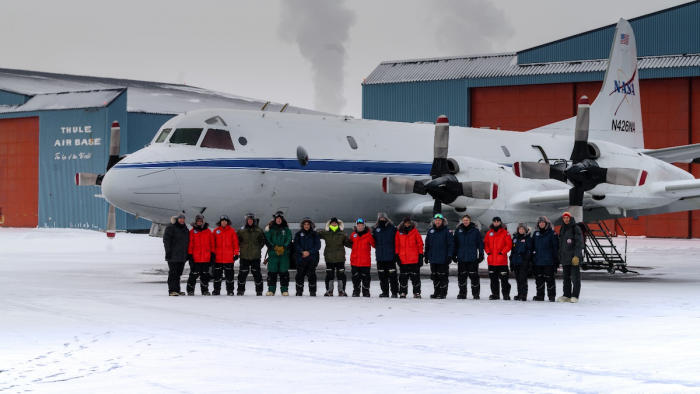 Figure 5. Picture of the USNA/NASA-OIB ICEX Team with NASA's Operation IceBridge P-3 airborne laboratory in Thule Air Base, Greenland. Picture taken by Danish contractor Sonny Jacobsen.