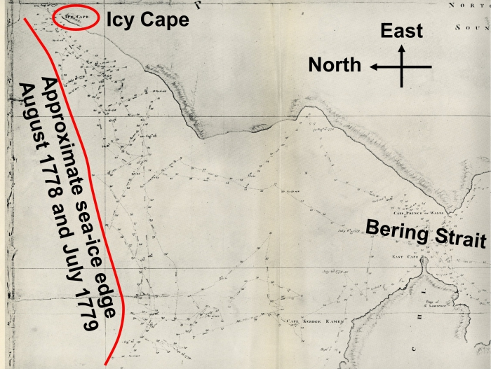 Figure 1.  Detail from Henry Roberts' Chart of the NW Coast of America and the NE Coast of Asia (Skelton, 1955, plate LIII).  The annotation in thick black and red was added by Stern.