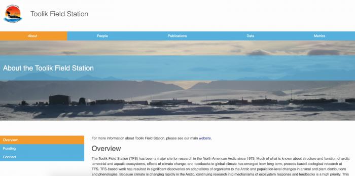 Figure 1. Screen shot of the Toolk Field Station Data Portal.