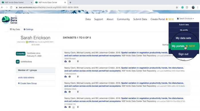 Figure 2. Screen shot of Arctic Data Center's page on how to access the portal creator and editor.