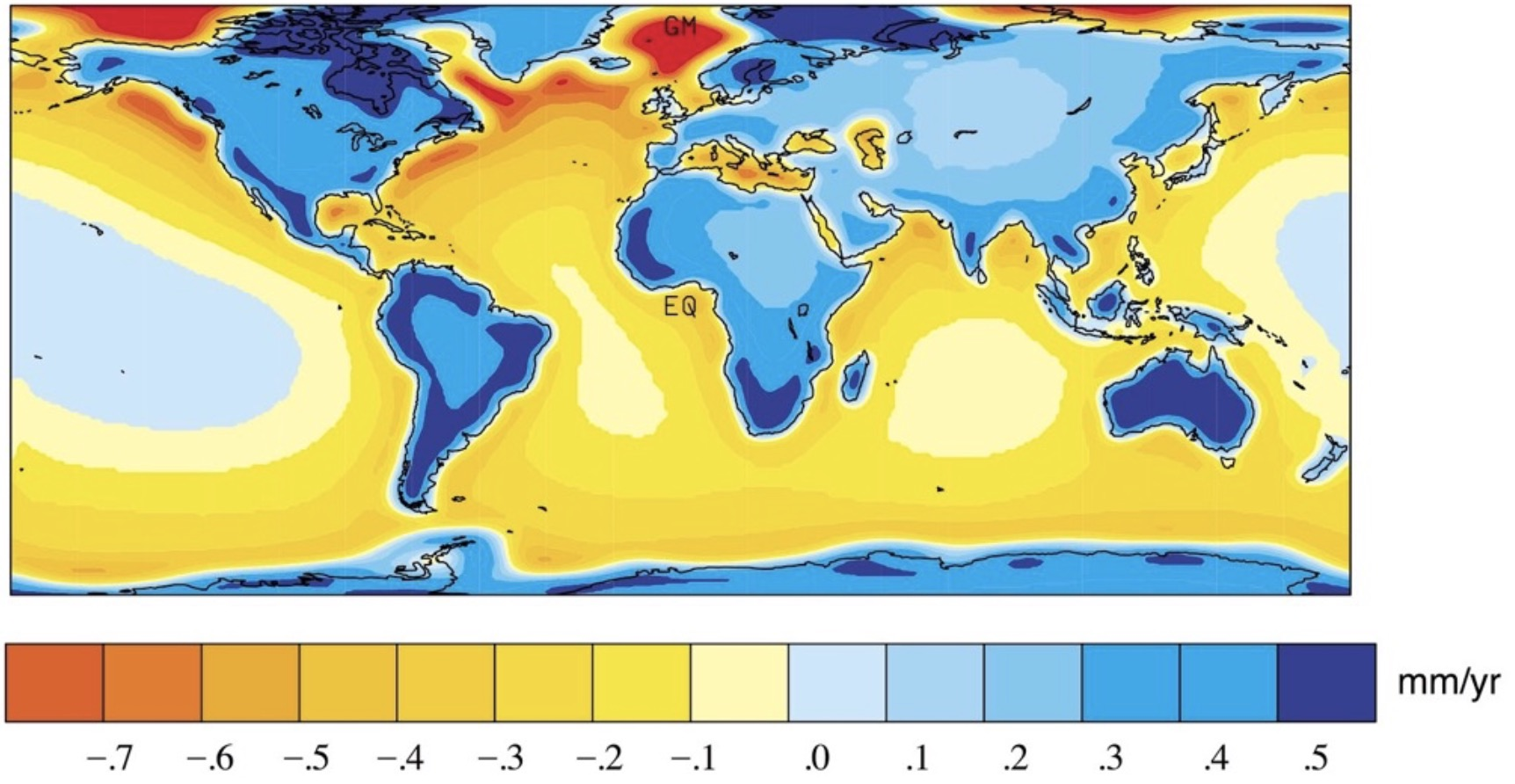 Figure 1. Prediction of present day vertical land motion due to the ongoing response of the Earth to past melting of the large ice sheets that were present during the last glacial maximum (Milne and Mitrovica, 2002). In the absence of other forms of land motion, areas in blue are experiencing uplift, while regions in yellow and red are subsiding.