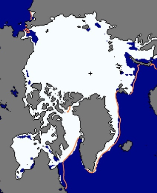 Figure 5. Sea ice extent for the beginning of June 2011