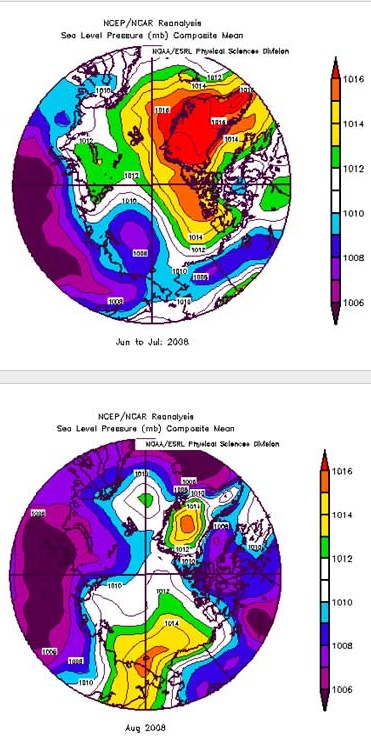 Figure 3. SLP patterns for June/July 2008 and August 2008. Credit: NOAA/CDC.