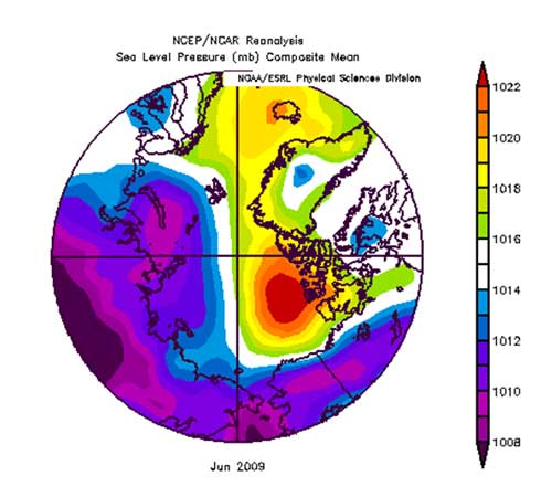 Figure 5. Sea level pressure analysis for June 2009.