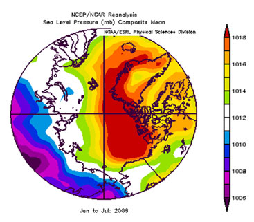 Figure 1. NCEP/NCAR Reanalysis Sea Level Pressure (mb) Composite Mean