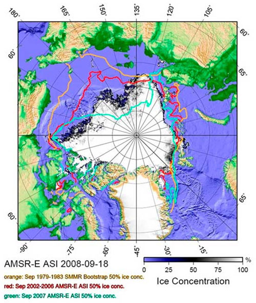 Sea ice extents for mid-September 2007 and 2008