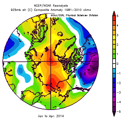 Figure 6. Air temperature anomaly at the 925 mb level for January - April. From NCEP/NCAR Reanalysis.