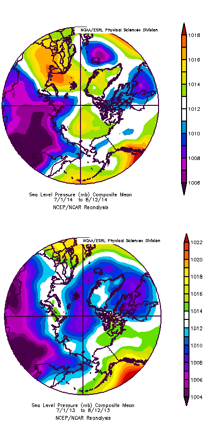 Figure 7. Sea level pressure for 1 July – 12 August 2014 (top) and 2013 (bottom). From NCEP/NCAR Reanalysis fields.