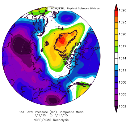 Figure 9. Sea level pressure for 1-17 July 2015. From NCEP/NCAR Reanalysis.