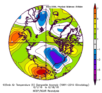 Figure 10. 925 hPa air temperature anomalies from June 1 to June 18 relative to 1981-2010. From NCEP/NCAR Reanalysis.