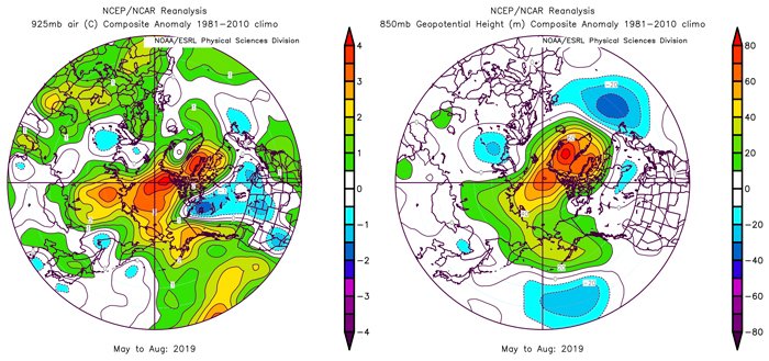 Figure 6a. (left panel) May–August 2019 anomalies of 925 mb air temperature anomalies and Figure 6b (right panel) geopotential height field at 850 mb - 15% of the atmosphere above the surface. Plots created on ESRL web plotting site using NCEP reanalysis.