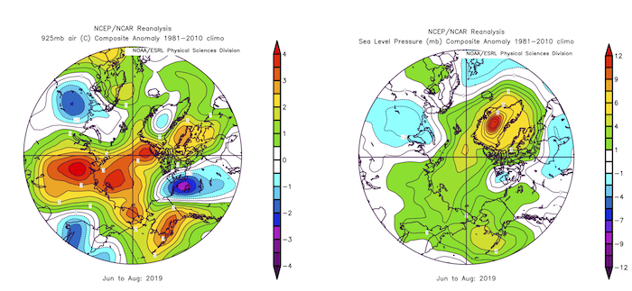 Figure 3d-1. June-August 2019 anomalies of Arctic 925 hPa air temperature anomalies (left panel) and sea level pressure (right). Plots created on ESRL web plotting site using NCEP reanalysis.