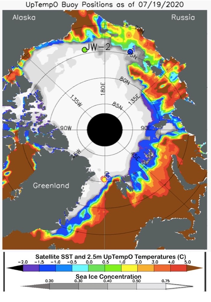 Figure 12. Sea-ice concentration (gray scale) and sea surface temperature (SST; color scale), for 19 July 2020. taken from the UpTempO buoy website.
