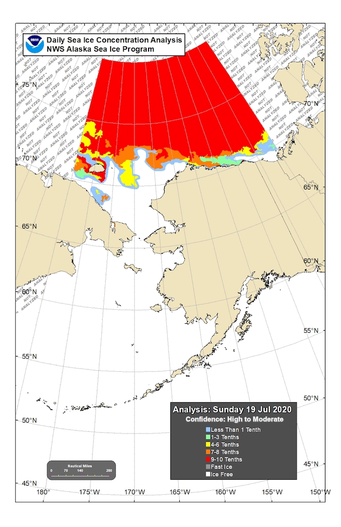 Figure 13. Sea-ice conditions for the northern Bering and Chukchi seas for mid-July. Figure courtesy of the National Weather Service (NWS) Alaska Sea Ice Program (ASIP).