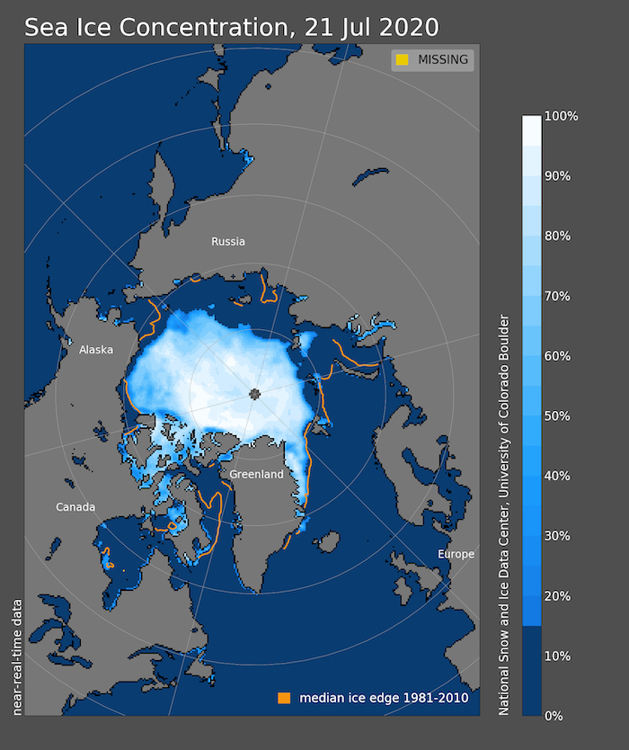 Figure 8. Arctic sea-ice extent and concentration for 20 July 2020, along with the median ice edge for 1980 to 2000, showing greatly reduced ice extent on the Russian side of the Arctic, as well as in Baffin Bay.