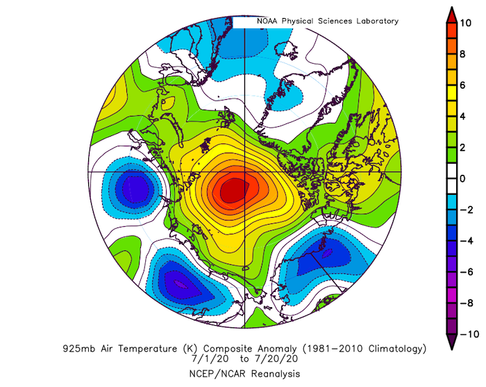 Figure 10: Departure from average air temperature in the Arctic at the 925 hPa level, in degrees Celsius, from 1–20 July 2020. Yellows and reds indicate higher-than-average temperatures; blues and purples indicate lower-than-average temperatures. Credit: NOAA Earth System Research Laboratory Physical Sciences Division