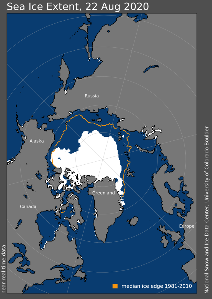 Figure 10. Arctic sea-ice extent and concentration for 22 August 2020, along with the median ice edge for 1980 to 2000. Figure courtesy of the National Snow and Ice Data Center.